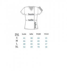 Maattabel Rode T-shirt V-hals Dames