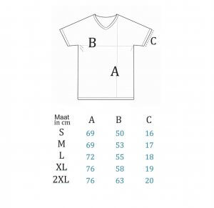 Maattabel T-shirt V-hals Mannen