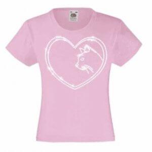 Roze kinder T-shirt met kat in strass steentjes