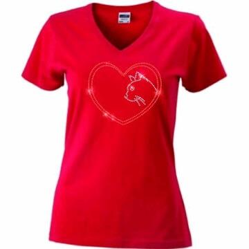 T-shirt met Kat in strass steentjes