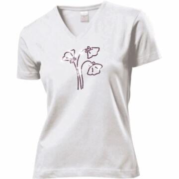 Witte T-shirt met klaprozen in SS10 strass