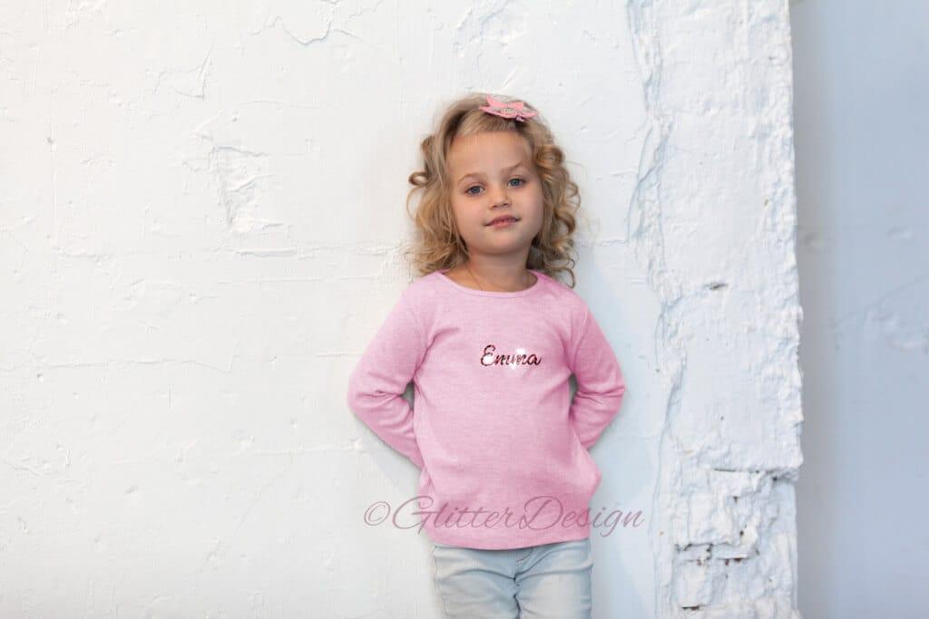 Glitter letters op roze sweatshirt - glitterdesign