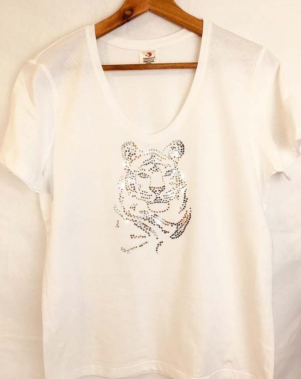 T-shirt met tijger in strass